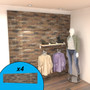 Brown brick textured slatwall display with clothing items.