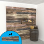 Reclaimed wood textured slatwall wall display with wine bottles and props.