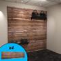 Red cedar slatwall wall display with purses on display.