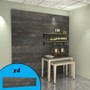Weathered wood slatwall wall display with oils on display.