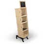 mobile rolling wood wine liquor store crate display made by DGS Retail