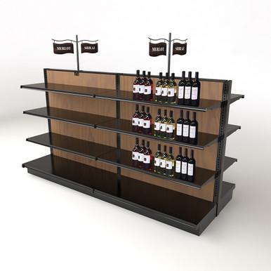 Discount Black Gondola Wood Shelving Retail Wine Rack Kit, 54H x 8ft L