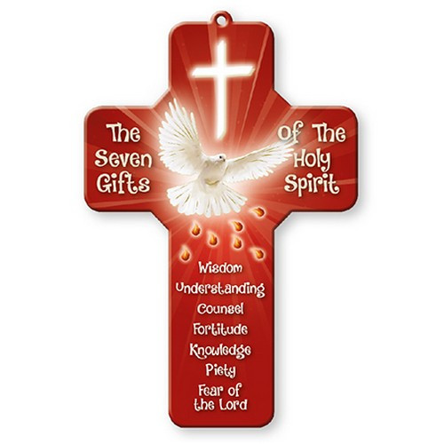 Cross Plaque: Confirmation Seven Gifts 18cm