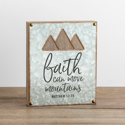 Plaque Wood Metal Cutout: Faith Can Move Mountains