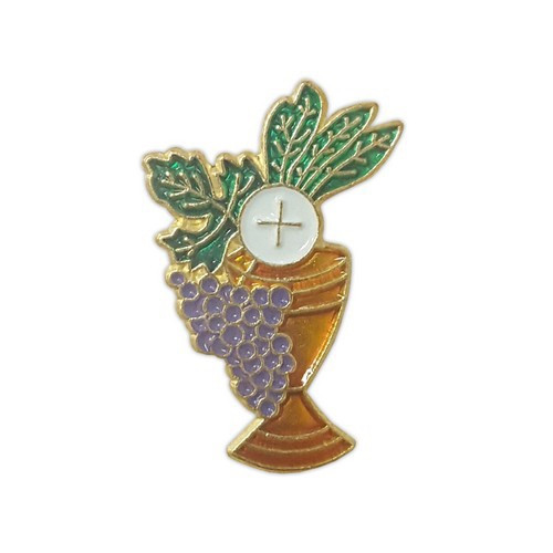 Communion Lapel Pin: Grapes Host and Chalice