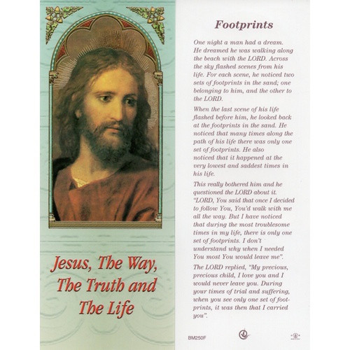 Bookmark: Footprints - Jesus The Way the Truth and the Life