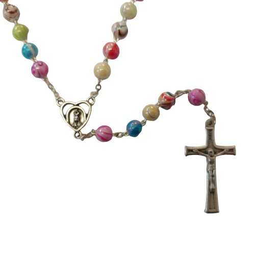 Rosary: Fatima Striped Beads 8mm - Assorted Colours