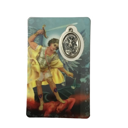 St Michael Laminated Card and Medal