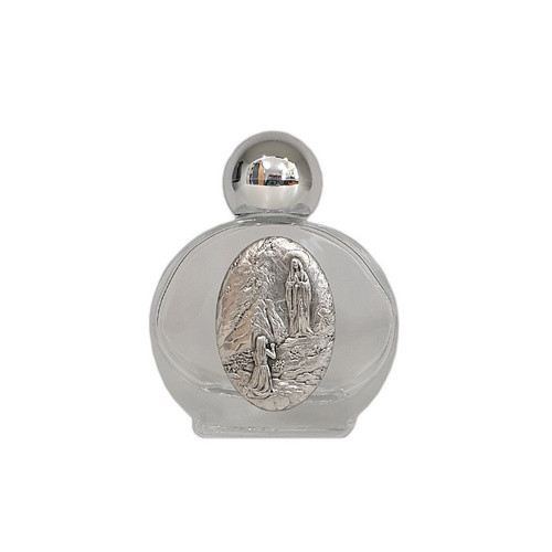 Glass Holy Water Bottle: Our Lady of Lourdes