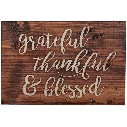Wooden Plaque: Grateful Thankful Blessed - 12.5cm x 9cm