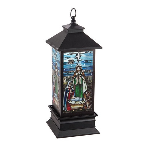 Stained Glass Lantern Nativity Scene with Light 28cm