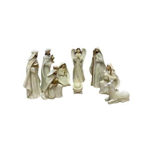 Nativity Set: 9 Piece White Medium 18cm