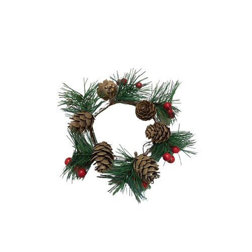 Candle Wreath: 75mmm - 85mm Holly and Pinecones