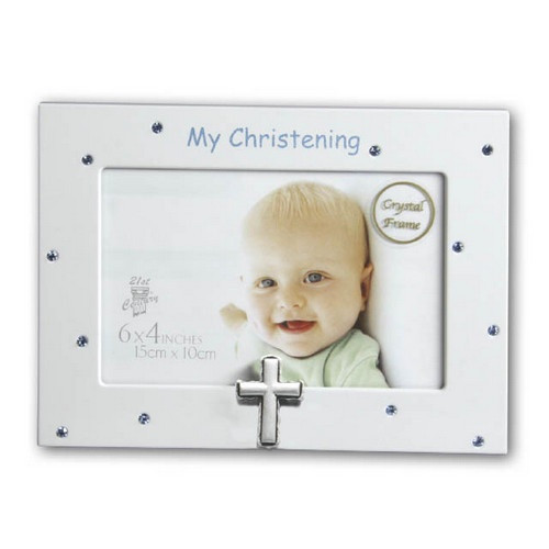 Photo Frame: My Christening with Blue Diamantes