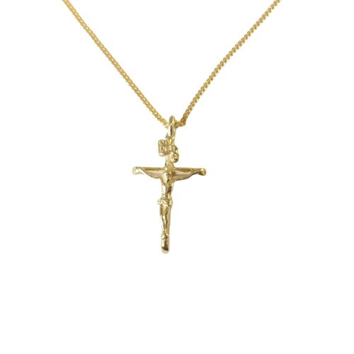 9ct Gold Crucifix Pendant on Heavy Gold Plate Chain - 25mm