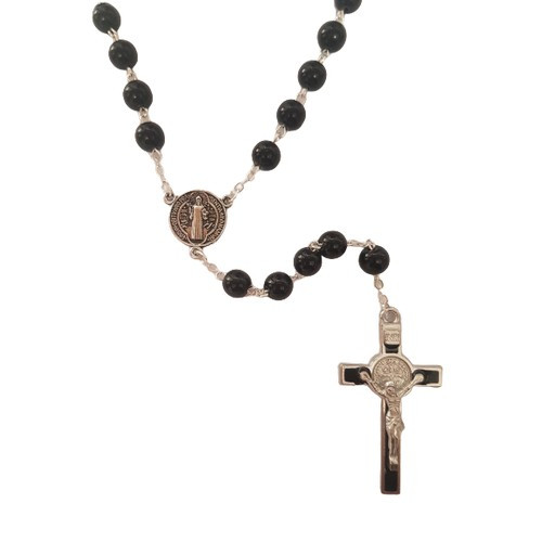 Rosary: Black 8mm Glass St Benedict - Silver Plated