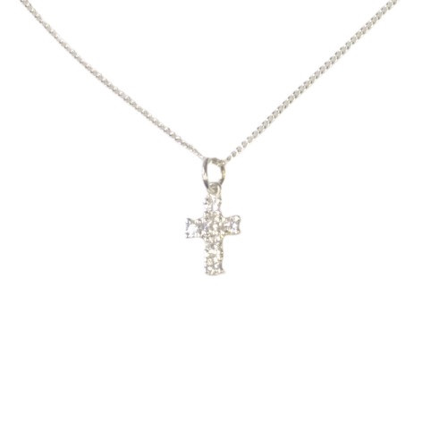 Sterling Silver Cubic Zirconia Cross - Small