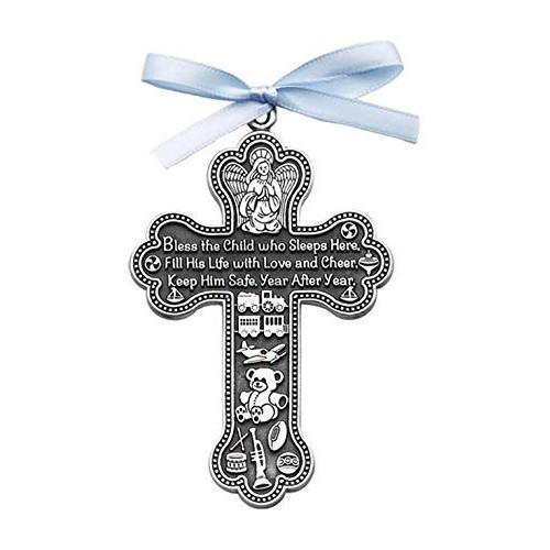 Crib Cross: Bless This Child (blue)
