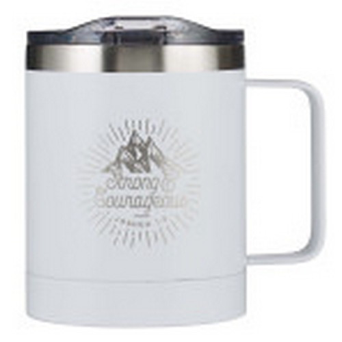 Camp Mug: Strong and Courageous - Stainless Steel with Lid White