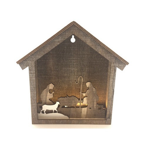 Nativity Scene: LED Holy Family Wooden 21cm