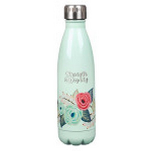 Water Bottle: Strength and Dignity - Teal and Floral Stainless Steel