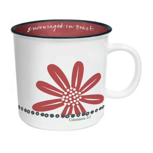 Mug: Encouraged in Heart - Red and White