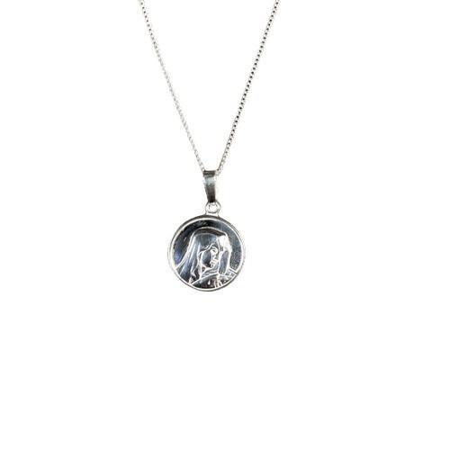 Sterling Silver Medal Madonna 16mm