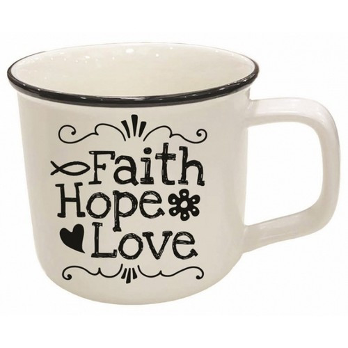 Mug: Faith Hope Love - Simple White