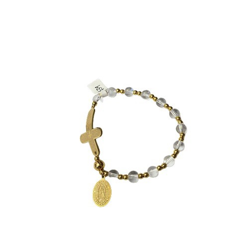 Rosary Bracelet: Stainless Steel Etched - Clear/ Yellow Gold Beads