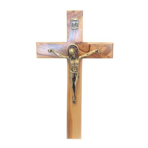 Crucifix: Olive Wood Bronze Corpus 15.5cm