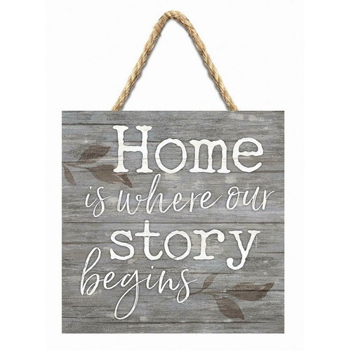 Hanging Wooden Sign - Home is Where Our Story Begins