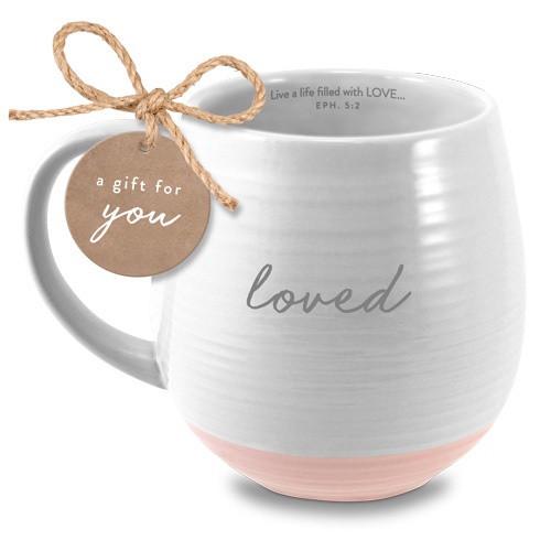 Mug: Loved - White and Pink