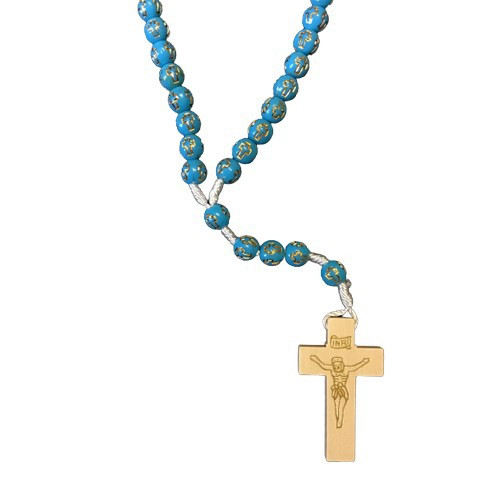 Rosary: Wooden on Cord - Blue with Gold Cross