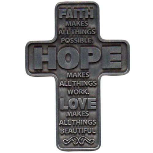 Pocket Cross:  Faith, Hope, Love