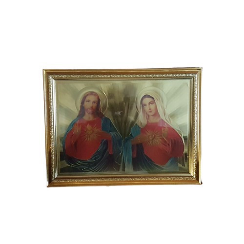 Gold Foil Framed Sacred Heart of Jesus and Mary - 40cm x 30cm