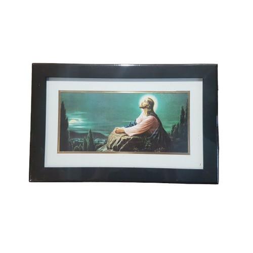 Framed Picture: Jesus Praying Oblong 32cm x 20.5cm