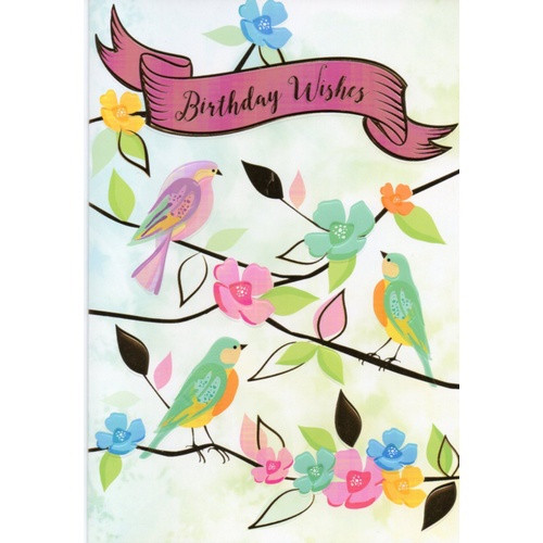 Card: Birthday Wishes - Pink and Gold Embossed Birds