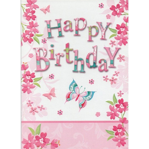 Card: Happy Birthday - Pink and Blue Butterflies