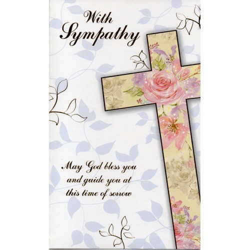 Card: With Sympathy - Flower Cross