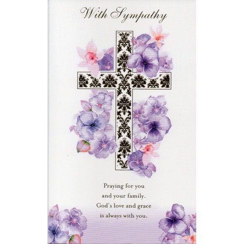 Card: With Sympathy - Purple Flowers and Gold Cross