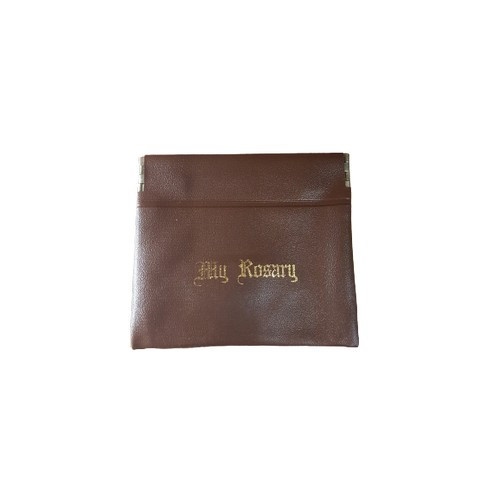 Rosary Pouch: Push Pocket Brown