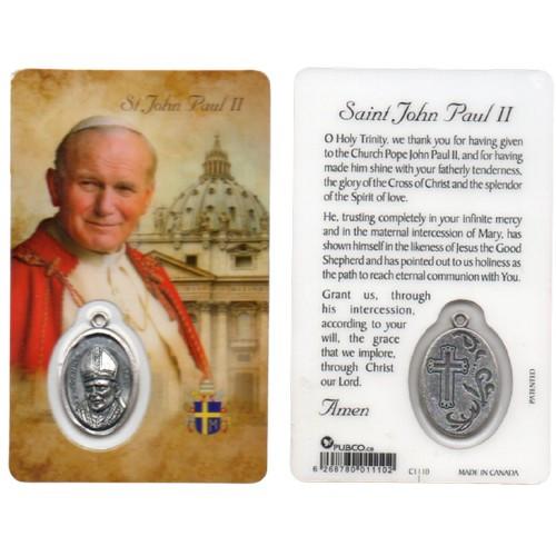 Laminated Card & Medal: St John Paul II