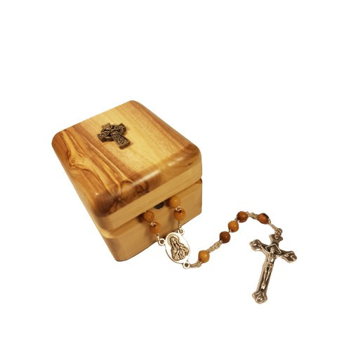 Rosary: Olive Wood Box & Rosary - Pewter Celtic Cross
