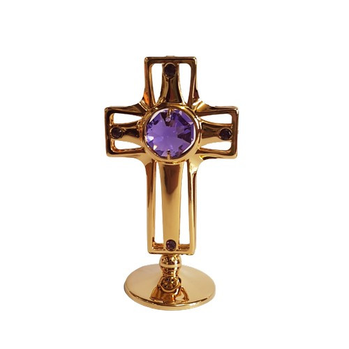 Holy Cross 24k Gold Plated with Purple Crystals
