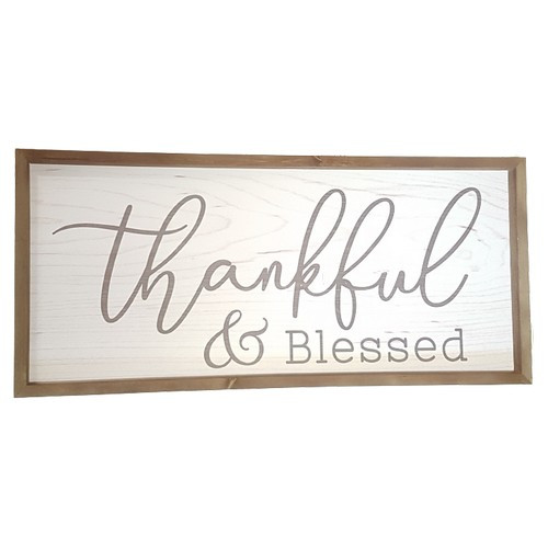 Framed Wall Plaque: Thankful and Blessed - 85cm x 39cm