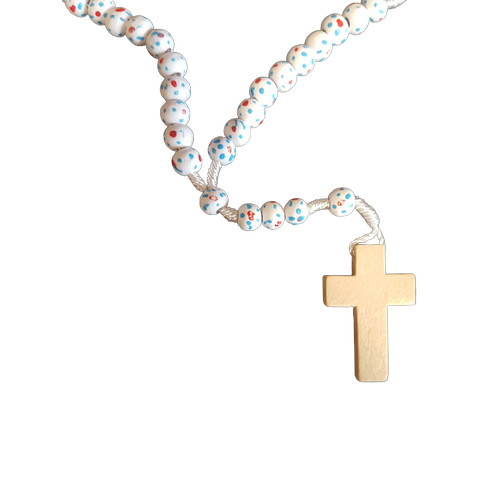 Rosary beads: Childs White Speckle Wooden Bead