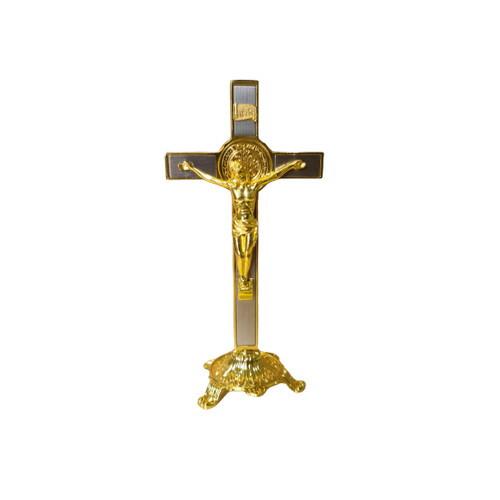 Crucifix: St Benedict Standing Corpus - Gold 20cm