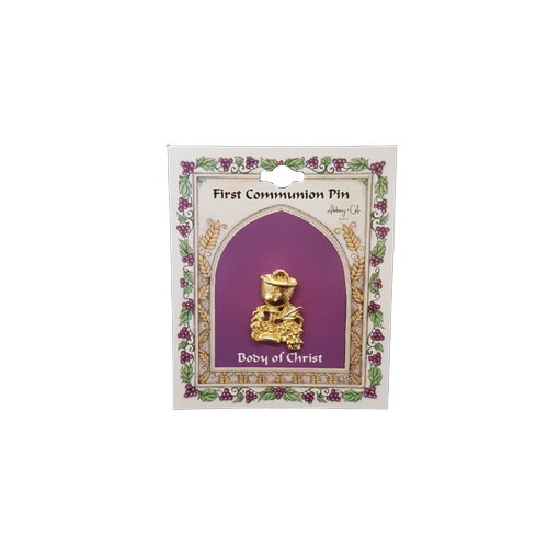 Lapel Pin:  Communion - Chalice Wheat and Grapes