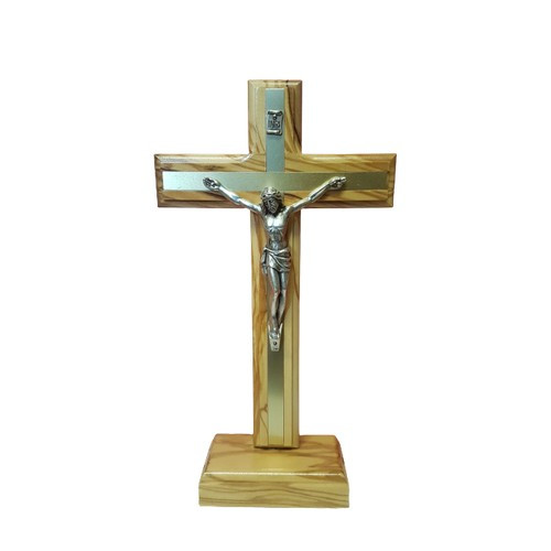 Crucifix: Olive Wood Standing with Metal Inlay - 20cm