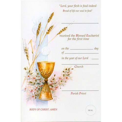 Certificate: First Holy Communion 175mm x 265mm